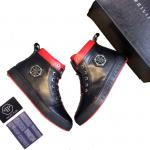 man philipp plein chaussures france sheepskin black red