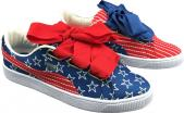 puma suede mode heart reset stripe ribbon bowknot
