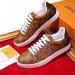 sneakers louis vuitton chaussures de dentelle or cuir