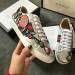 women gucci chaussures blanches chaussures de sport cowhide embroidery silver
