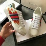 women gucci chaussures blanches chaussures de sport cowhide flame white
