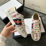 women gucci chaussures blanches chaussures de sport cowhide printing