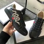 women gucci chaussures blanches chaussures de sport cowhide snake drill black