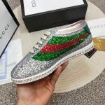 women gucci chaussures blanches chaussures de sport crystal rainbow sequin engraved silver