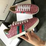 women gucci chaussures blanches chaussures de sport sequin materials pink