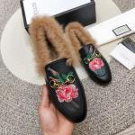 women chaussures gucci en cuir plat en peluche electrical embroidery flower