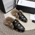 women chaussures gucci en cuir plat en peluche slippers electric rust stars