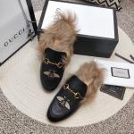 women chaussures gucci en cuir plat en peluche slippers electric rust honeybee