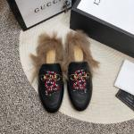 women chaussures gucci en cuir plat en peluche slippers electric rust snake