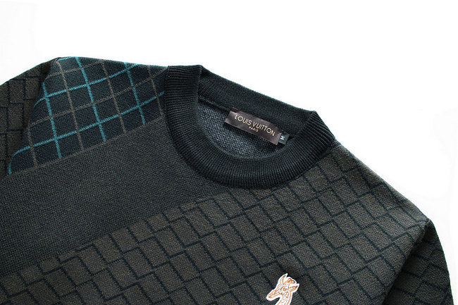 sweat louis vuitton damier pull mode deer embroidered green