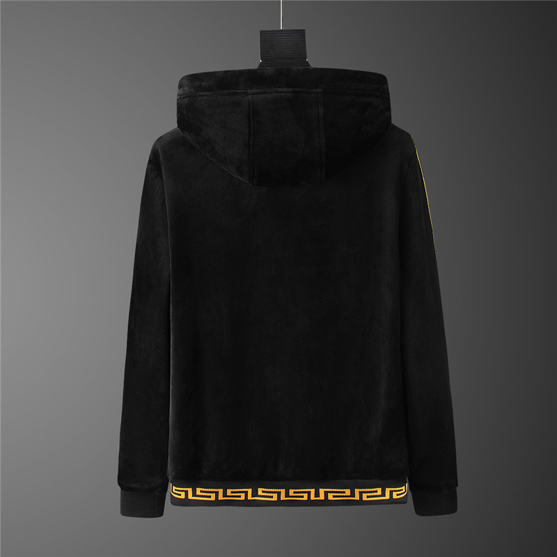 versace jogging homme jeans couture hoodie double faced velvet black v2021