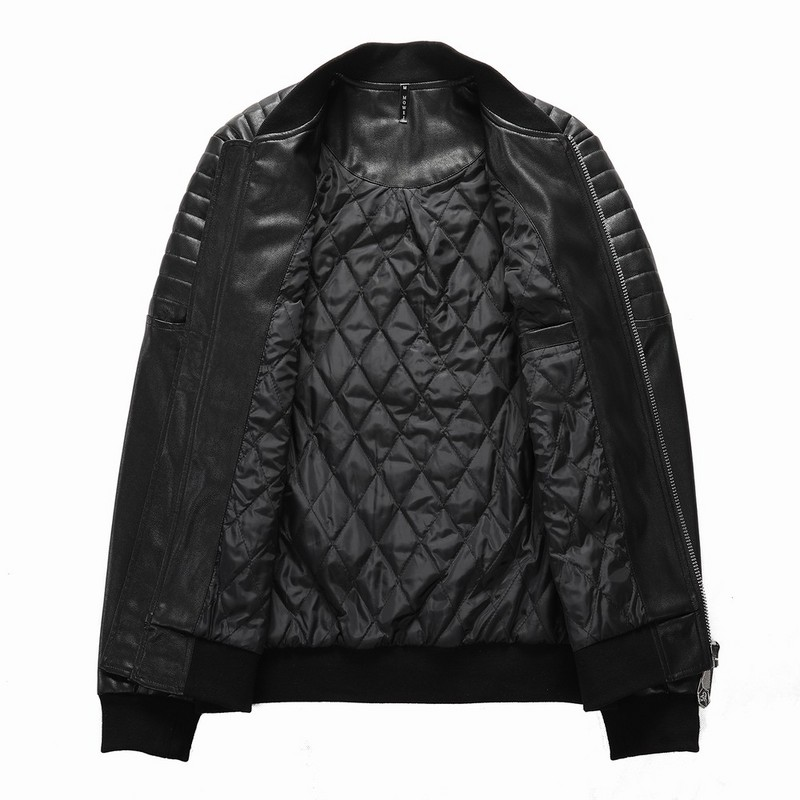 veste philipp plein femmes hommes leather bomber back skull